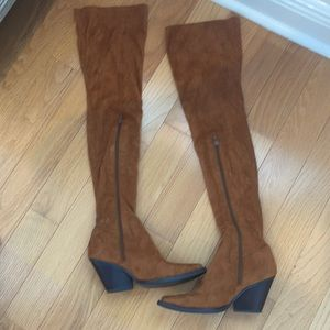 LF thigh high suede boots